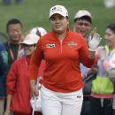 South Korea's Inbee Park gestures on the forth green during the third round of the Reignwood LPGA Classic golf tournament at Pine Valley Golf Club on the outskirts of Beijing, China, Saturday, Oct. 5, 2013. (AP Photo/Alexander F. Yuan)