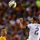 FC Chelsea defender Branislav Ivanovic (2) completes a header against FC Barcelona defender Jérémy Mathieu (24)on Tuesday,July,28, 2015, in Landover, Maryland. Chelsea and FC Barcelona face off at the 2015 International Champions Cup. Damian Strohmeyer/A