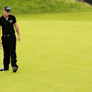 France's Edouard Dubois reacts after missing a birdie putt on the 18th green during day one of the Irish Open Golf Championship at Royal Portrush Golf Club, Portrush, Northern Ireland, Thursday, June 28, 2012. (AP Photo/Peter Morrison)