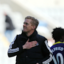 Swansea City's manager Garry Monk celebrates his victory over Newcastle United at the end of their English Premier League soccer match at St James' Park, Newcastle, England, Saturday, April 19, 2014