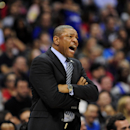 Los Angeles Clippers head coach Doc Rivers reacts to a referee's call in the second half of an NBA basketball game against the Atlanta Hawks, Saturday, March 8, 2014, in Los Angeles. The Clippers won 109-108 The Associated Press