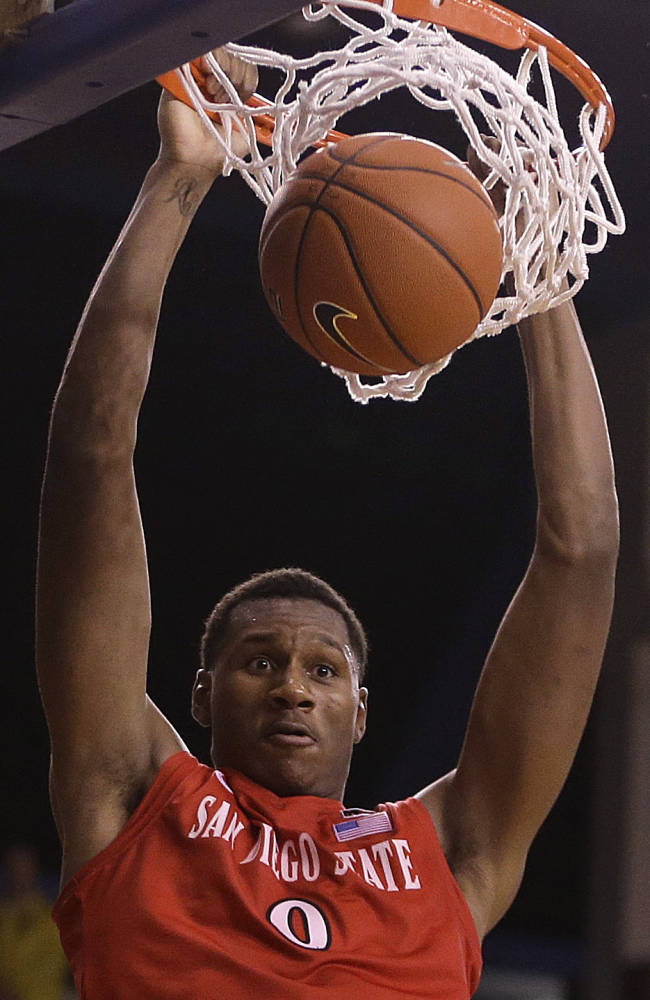 San Diego State's Skylar Spencer scores against San Jose State in the second half of an NCAA college basketball game Wednesday, Jan. 22, 2014, in San Jose, Calif