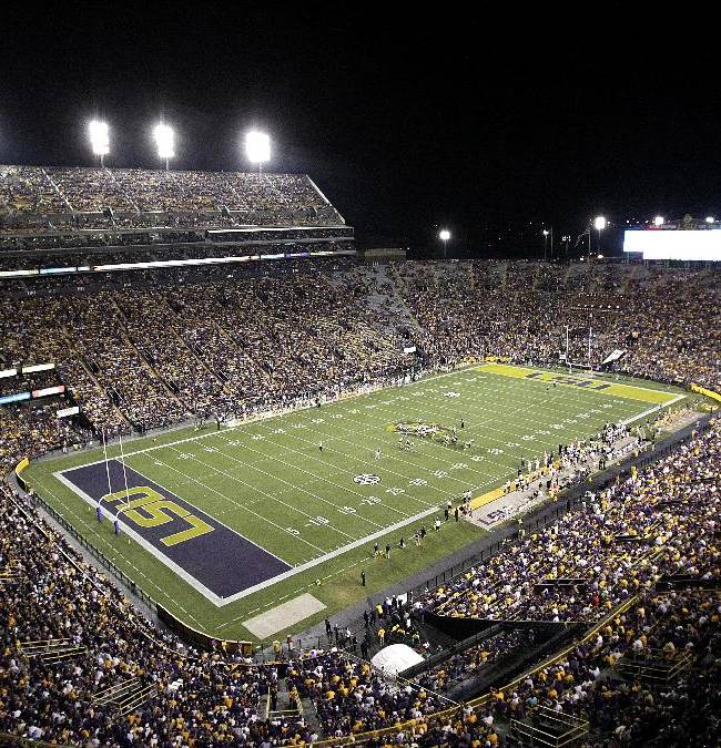 In this Sept. 15, 2012 file photo, Tiger Stadium is seen in the second half of an NCAA college football game between LSU and the Idaho in Baton Rouge, La.  LSU on Thursday, April 10, 2014, is releasing the results of a study meant to show the amount of direct and indirect spending spurred by football games in Tiger Stadium, which routinely draw about 100,000 spectators to campus
