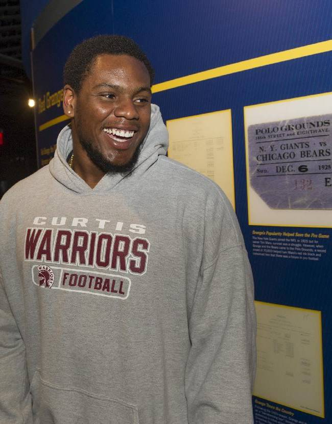 New England Patriots rookie Dominique Easley is all smiles, during the 2014 NFL Rookie Symposium at the Pro Football Hall of Fame in Canton, Ohio, Saturday, June 28, 2014