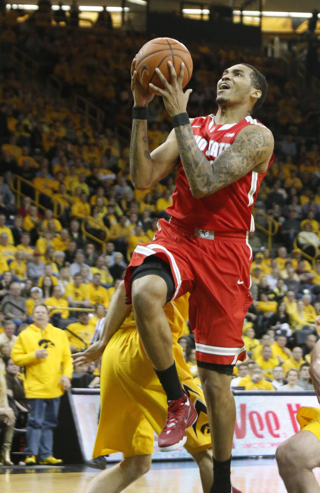 Ohio State forward LaQuinton Ross (10) heads to the basket during the first half against Iowa in an NCAA college basketball game Tuesday, Feb. 4, 2014, in Iowa City, Iowa