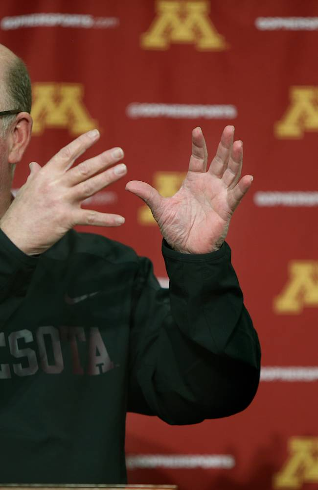 The University of Minnesota football coach Jerry Kill speaks to the media during a news conference on campus regarding his raise, and spring football, Monday, Feb. 24, 2014 in Minneapolis, Minn. Kill says he's