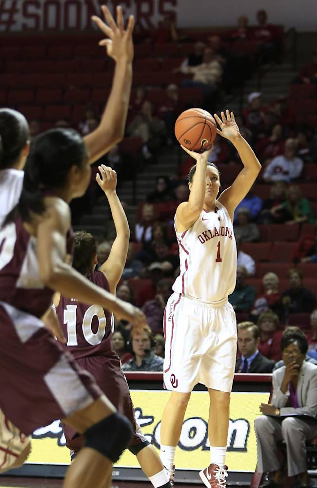 Oklahoma guard Nicole Kornet shoots  in front of Maryland Eastern Shore defenders during the second half of an NCAA women's college basketball game in Norman, Okla., Sunday, Dec. 15, 2013. Oklahoma won 105-46