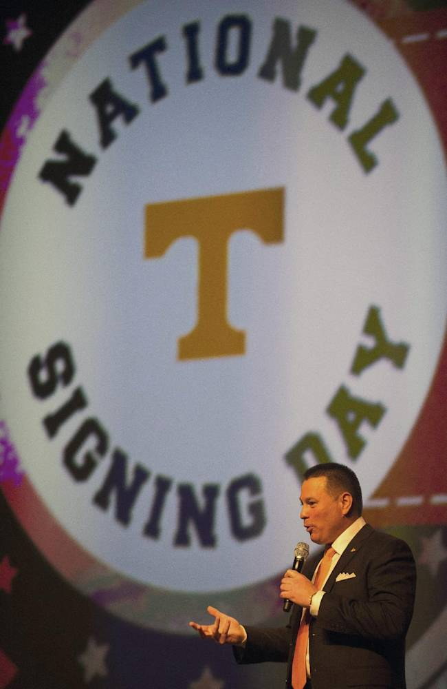 Tennessee head coach Butch Jones speaks during the university's NCAA college football recruiting celebration in Knoxville, Tenn., Wednesday, Feb. 5, 2014