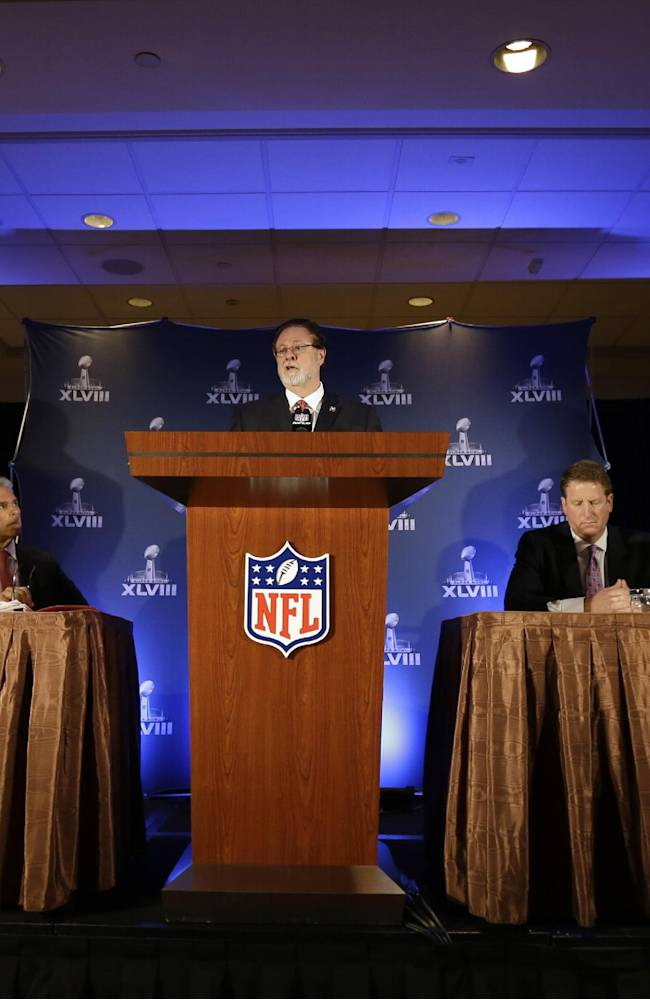 Dr. John York, with the NFL Owners' Health and Safety Committee, speaks during a news conference on health and safety at the NFL Super Bowl XLVIII media center, Thursday, Jan. 30, 2014, in New York. (AP Photo)