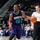 ATLANTA, GA - OCTOBER 20: Kemba Walker #15 of the Charlotte Hornets drives against the Atlanta Hawks on October 20, 2014 at Philips Arena in Atlanta, Georgia. (Photo by Scott Cunningham/NBAE via Getty Images)