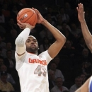 Syracuse's James Southerland shoots a 3-point shot during the first half of an NCAA college basketball game against Seton Hall at the Big East Conference tournament, Wednesday, March 13, 2013 in New York. (AP Photo/Mary Altaffer)