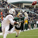 Baylor cornerback Demetri Goodson (3) breaks up a pass in the end zone against Texas wide receiver Marcus Johnson during the first half of an NCAA college football game Saturday, Dec. 7, 2013, in Waco, Texas. Baylor won 30-10 The Associated Press