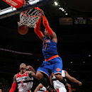 WASHINGTON, DC - MARCH 1: Carmelo Anthony #7 of the New York Knicks dunks against the Washington Wizards during the game at the Verizon Center on March 1, 2013 in Washington, DC. (Photo by Ned Dishman/NBAE via Getty Images)