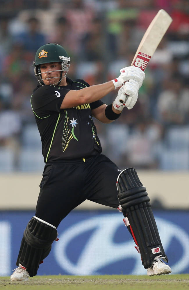Australia batsman Aaron Finch plays a shot during their ICC Twenty20 Cricket World Cup match against Bangladesh in Dhaka, Bangladesh, Tuesday, April 1, 2014