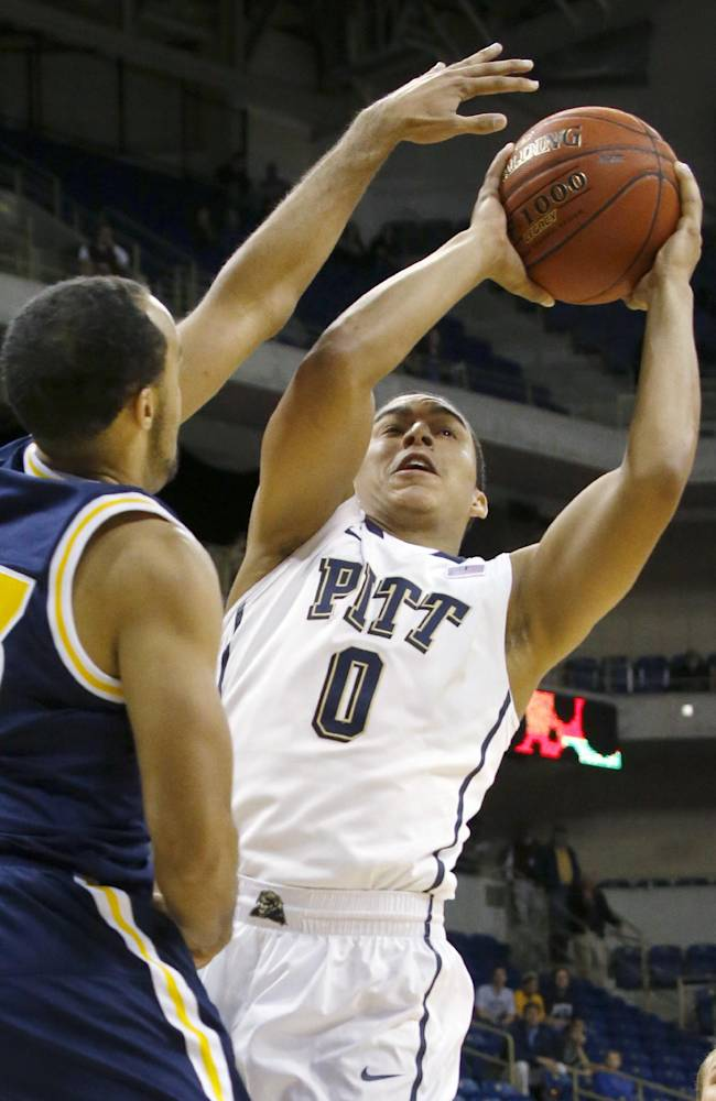 Pittsburgh's James Robinson (0) shoots in the first half of the exhibition NCAA college basketball game against UC San Diego on Friday, Oct. 25, 2013, in Pittsburgh. This is Pittsburgh's first season in the ACC and sophomore Robinson is the team's top point guard