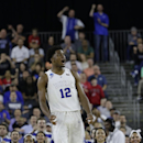 Duke's Justise Winslow reacts to play against Utah during the second half of a college basketball regional semifinal game in the NCAA Tournament Friday, March 27, 2015, in Houston. (AP Photo/David J. Phillip)