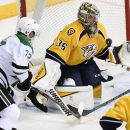 Nashville Predators goalie Pekka Rinne (35), of Finland, makes the save on a shot by Dallas Stars right wing Erik Cole (72) in the first period of an NHL hockey game Thursday, Jan. 8, 2015, in Nashville, Tenn The Associated Press