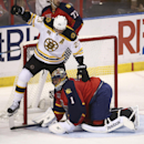 After Florida Panthers goalie Roberto Luongo (1) blocked the puck Boston Bruins' Chris Kelly (23) steps over the goalie during the second period of an NHL hockey game in Sunrise, Fla., Sunday, March 9, 2014 The Associated Press