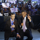 Sacramento Mayor Kevin Johnson, right, and Vivek Ranadive, the new majority owner of the Sacramento Kings do a television interview during