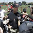 San Francisco 49ers head coach Jim Harbaugh, center, speaks to reporters after practice at an NFL football training camp in Santa Clara, Calif., Wednesday, May 22, 2013. (AP Photo/Jeff Chiu)