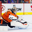Philadelphia Flyers goalie Steve Mason deflects a shot on goal in the first period of an NHL hockey game against the Toronto Maple Leafs, Saturday, Jan. 31, 2015, in Philadelphia. The Flyers won 1-0 The Associated Press