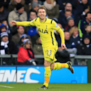 Tottenham Hotspur's Christian Eriksen celebrates scoring his side's first goal of the game during their English Premier League soccer match against West Bromwich Albion at The Hawthornes, Birmingham, England, Saturday, Jan. 31, 2015