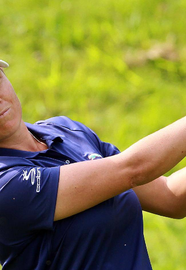 Lee Ann Pace of South Africa plays a shot off the 2nd tee during the first round of the women's Lacoste Open in Saint Jean de Luz, southwestern France, Thursday, Sept. 26, 2013
