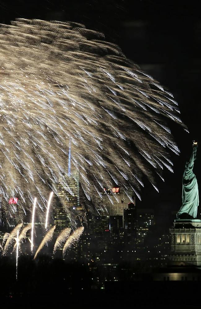 Fireworks are seen over New York city Monday, Jan. 27, 2014, from New Jersey as part os a kick off event for the NFL Super Bowl XLVIII football game. The Seattle Seahawks and the Denver Broncos are scheduled to play on Sunday, Feb. 2, 2014