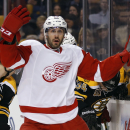 Detroit Red Wings' Drew Miller raises his arms as he looks for a penalty to be called against the Boston Bruins, during the first period of Game 1 of a first-round NHL playoff hockey series in Boston on Friday, April 18, 2014 The Associated Press