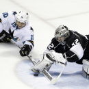 Los Angeles Kings goalie Jonathan Quick stops a shot from San Jose Sharks' Andrew Desjardins (10) during the third period of an NHL hockey game Wednesday, Jan. 21, 2015, in San Jose, Calif. San Jose won 4-2 The Associated Press