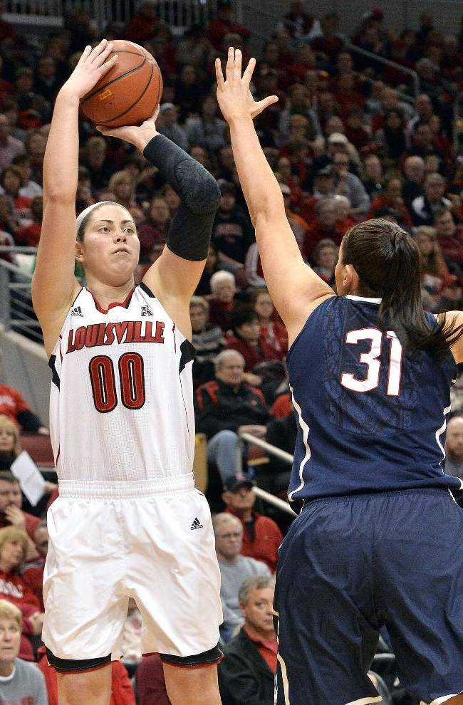 Louisville's Sara Hammond, left, puts up a shot over the defense of Connecticut's Stefanie Dolson during the first half of an NCAA college basketball game, Monday, March 3, 2014, in Louisville, Ky