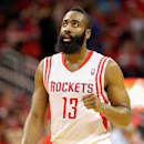 HOUSTON - APRIL 29:  James Harden #13 of the Houston Rockets reacts after Houston takes the lead in the fourth quarter against the Oklahoma City Thunder during Game Four of the Western Conference Quarterfinals of the 2013 NBA Playoffs at the Toyota Center on April 29, 2013 in Houston, Texas. Houston won 105-103. (Photo by Bob Levey/Getty Images)