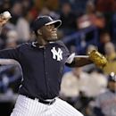 New York Yankees starting pitcher Michael Pineda delivers in the fifth inning of a spring training baseball game against the Detroit Tigers in Tampa, Fla., Friday, March 7, 2014 The Associated Press