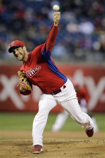 Philadelphia Phillies' Cliff Lee pitches during the first inning of an exhibition baseball game against the Toronto Blue Jays, Friday, March 29, 2013, in Philadelphia