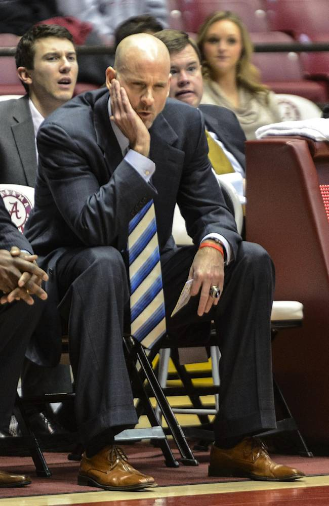 Mississippi coach Andy Kennedy watches from the bench during an NCAA college basketball game against Alabama on Tuesday, Feb. 11, 2014, at Coleman Coliseum in Tuscaloosa, Ala
