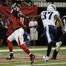 Atlanta Falcons wide receiver Devin Hester (17) runs into the end zone against Tennessee Titans defensive back Tommie Campbell (37) for a touchdown during the first half of an NFL preseason football game, Saturday, Aug. 23, 2014, in Atlanta The Associated