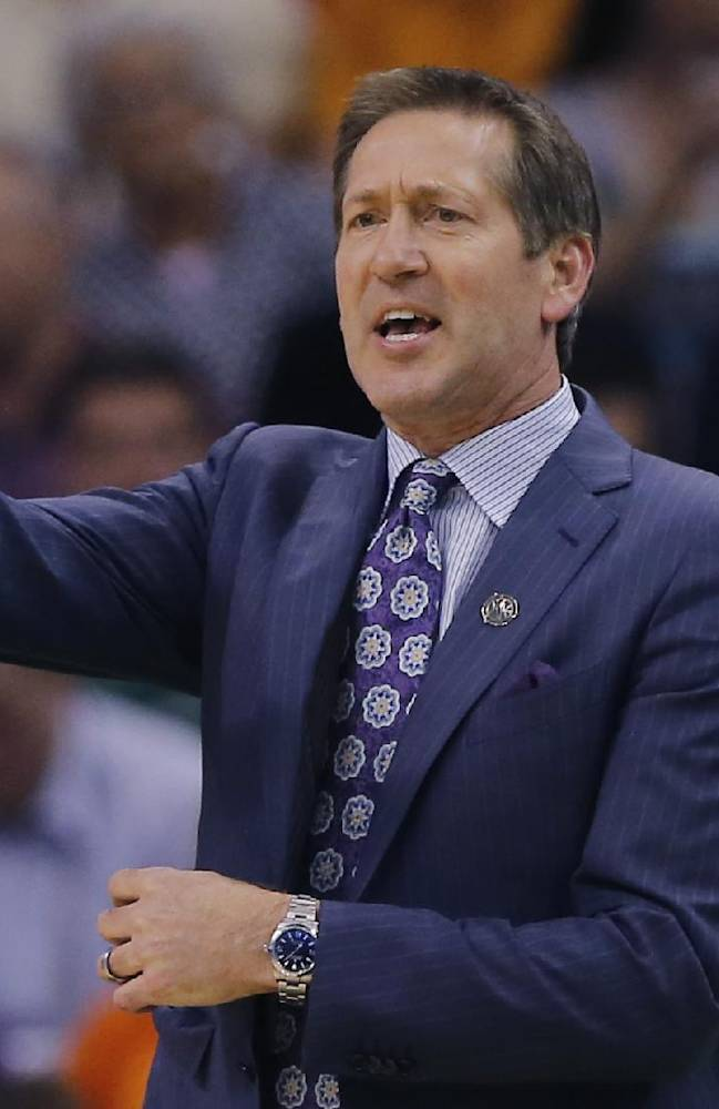 Phoenix Suns head coach Jeff Hornacek instructs his team during the first half of an NBA basketball game against the Oklahoma City Thunder on Sunday, April 6, 2014,in Phoenix