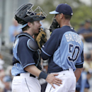 Tampa Bay Rays catcher Ryan Hanigan speaks with pitcher Grant Balfour on the mound in the fourth inning of an exhibition baseball game, Wednesday, March 5, 2014, in Port Charlotte, Fla. The Rays defeated the Yankees 5-4 The Associated Press