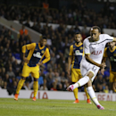 Tottenham's Andros Townsend scores from a penalty during the second leg Europa League qualifying soccer match between Tottenham Hotspur and AEL Limassol at White Hart Lane stadium in London Thursday, Aug. 28, 2014