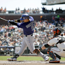 Colorado Rockies' Carlos Gonzalez breaks his bat as he grounds out against the San Francisco Giants during the first inning of a baseball game on Sunday, April 13, 2014, in San Francisco The Associated Press