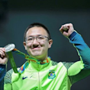 2016 Rio Olympics - Shooting - Victory Ceremony - Men's 10m Air Pistol Victory Ceremony - Olympic Shooting Centre - Rio de Janeiro, Brazil - 06/08/2016. Felipe Wu (BRA) of Brazil shows his silver medal. REUTERS/Edgard Garrido