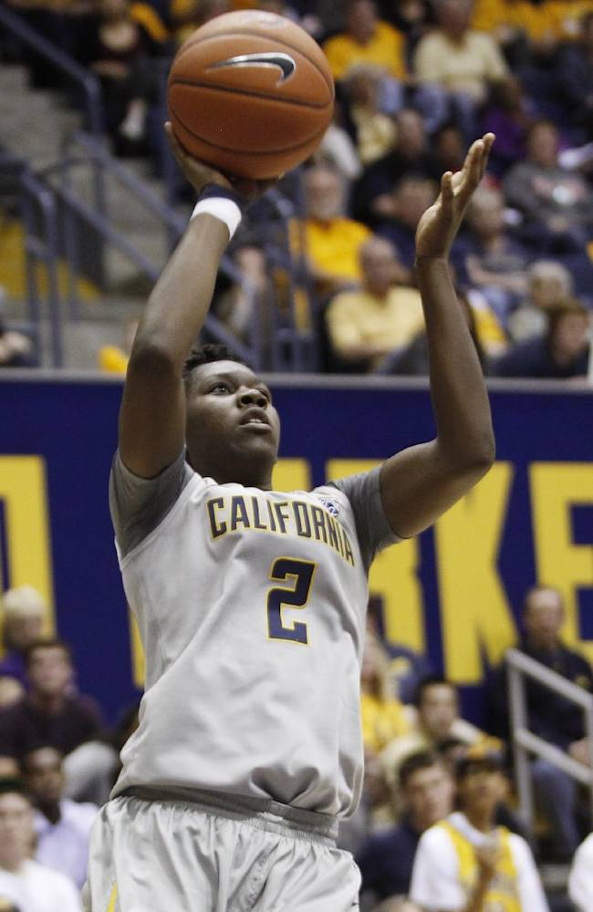 California's Afure Jemerigbe shoots during the second half of an NCAA college basketball game against Duke, Sunday, Nov. 10, 2013 in Berkeley, Calif