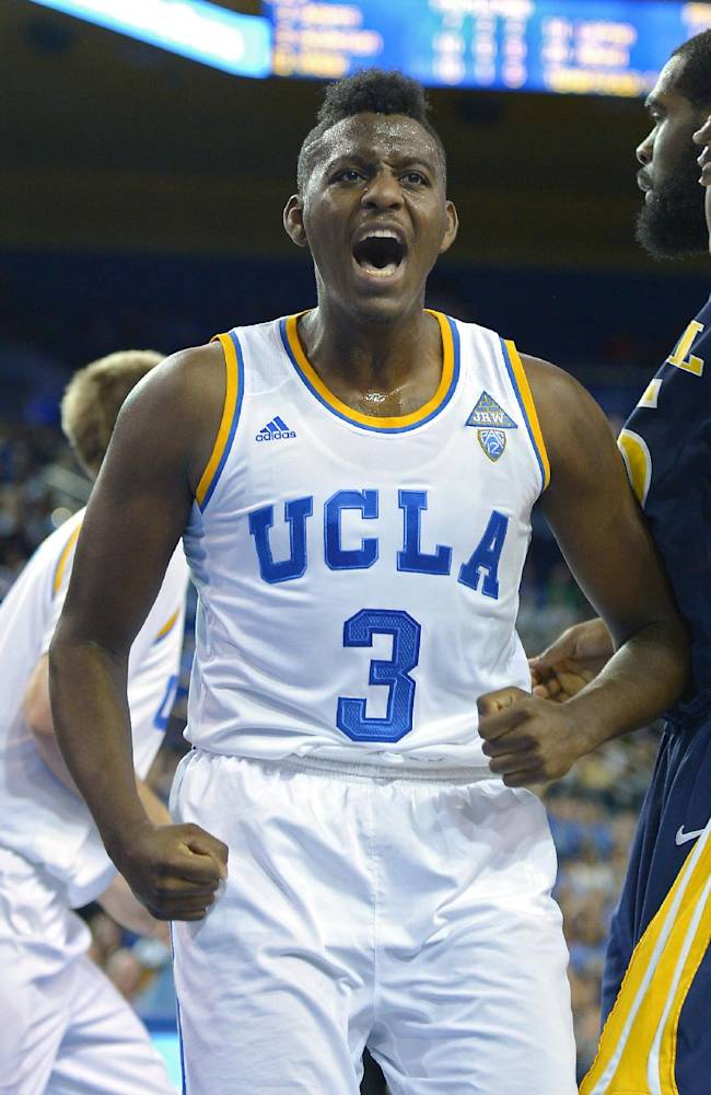 UCLA guard Jordan Adams celebrates after scoring during the second half of an NCAA college basketball game against Drexel, Friday, Nov. 8, 2013, in Los Angeles. UCLA won 72-67