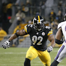 Pittsburgh Steelers linebacker James Harrison (92) rushes Baltimore Ravens quarterback Joe Flacco (5) during an NFL football game against the Baltimore Ravens, Sunday, Nov. 2, 2014, in Pittsburgh The Associated Press