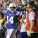 Indianapolis Colts wide receiver Hakeem Nicks celebrates a touchdown catch against the New England Patriots during the first half of an NFL football game in Indianapolis, Sunday, Nov. 16, 2014 The Associated Press