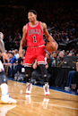 NEW YORK, NY - OCTOBER 29: Derrick Rose #1 of the Chicago Bulls handles the ball against the New York Knicks during a game at Madison Square Garden in New York City on October 29, 2014. (Photo by Nathaniel S. Butler/NBAE via Getty Images)