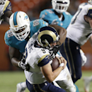 St. Louis Rams quarterback Austin Davis (9) is sacked by Miami Dolphins defensive tackle Garrison Smith (68) during the first half of an NFL preseason football game, Thursday, Aug. 28, 2014 in Miami Gardens, Fla The Associated Press