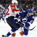Tampa Bay Lightning center Alex Killorn (17) and Florida Panthers defenseman Alex Petrovic (72) collide on the ice during the second period of an NHL hockey game Thursday, March 13, 2014, in Tampa, Fla. (AP Photo/Brian Blanco)