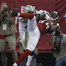 Atlanta Falcons wide receiver Roddy White (84) makes a touchdown catch against New Orleans Saints cornerback Keenan Lewis (28) during the first half of an NFL football game, Sunday, Sept. 7, 2014, in Atlanta The Associated Press