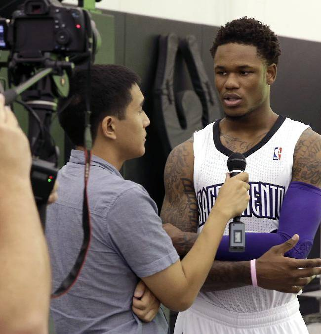 Sacramento Kings rookie guard Ben McLemore talks with reporters during the team's NBA basketball media day in Sacramento, Calif., Monday, Sept. 30, 2013. McLemore was the Kings first-round draft pick, seventh overall,  in the 2013 NBA draft